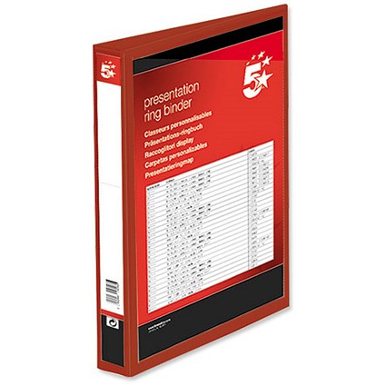 5 Star Presentation Binder / A4 / 2 D-Ring / 25mm Capacity / Red / Pack of 10