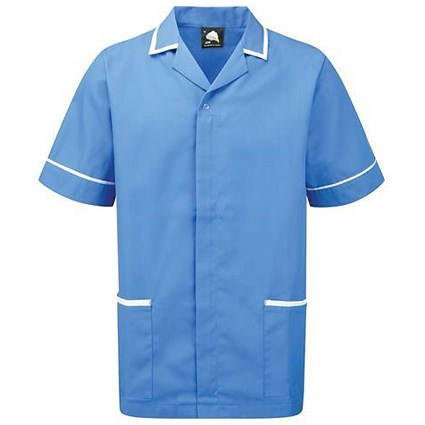 5 Star Mens Nursing Tunic / Concealed Zip / XXXL / Blue & White