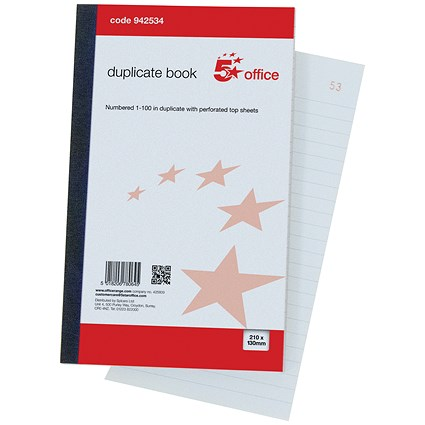 5 Star Duplicate Book with Carbon Ruled Indexed and Perforated 100 Sets 210x130mm