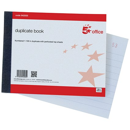 5 Star Duplicate Book with Carbon Ruled Indexed and Perforated 100 Sets 105x130mm