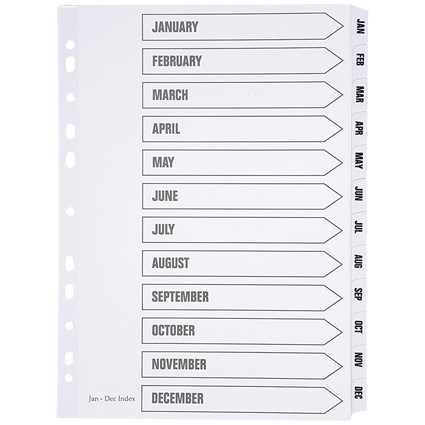5 Star Index Strip Tabs, Multipunched, Jan-Dec, Mylar Tabs, A4, White
