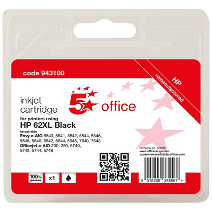 5 Star Compatible - Alternative to HP 62XL Black High Yield Ink Cartridge