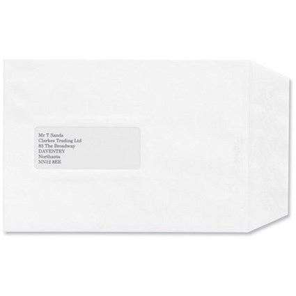 Croxley Script C5 Script Pocket Envelopes with Window / Pure White / Peel & Seal / Pack of 500