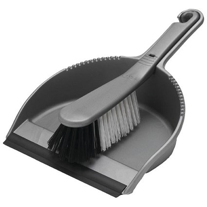 Addis Dustpan and Soft Brush Set Metallic (Serrated edge to clean brush bristles) 510390