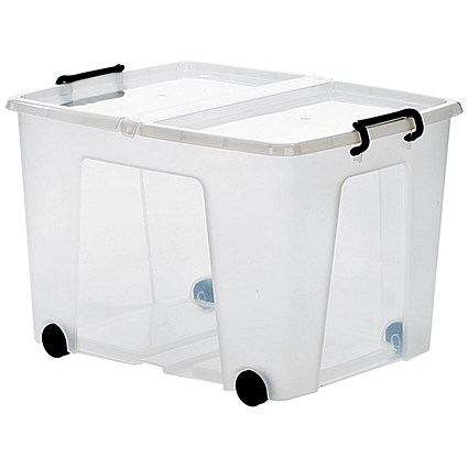 Strata Smart Box, 75 Litre, Clip-on Folding Lid, Carry Handles, Clear