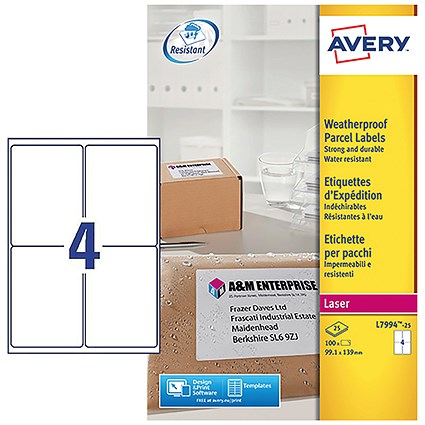 Avery Weatherproof Laser Shipping Labels, 4 per Sheet, 99.1x139mm, L7994-25, 100 Labels