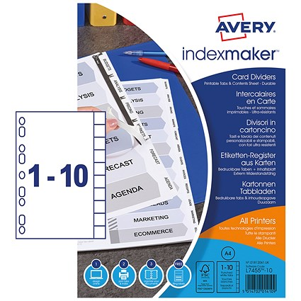 Avery IndexMaker Dividers, 10-Part, White Tabs, A4, White