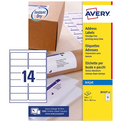 Avery Quick DRY Inkjet Addressing Labels, 14 per Sheet, 99.1x38.1mm, White, J8163-25, 350 Labels