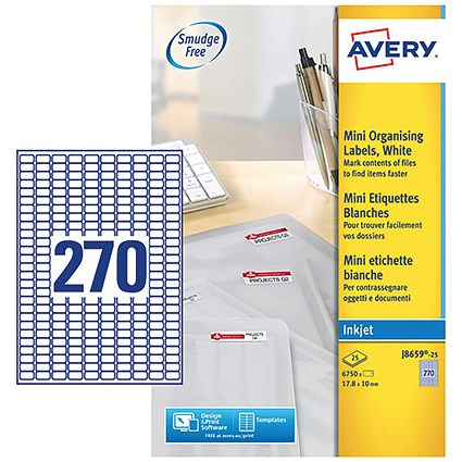 Avery Inkjet Mini Labels, 270 per Sheet, 17.8x10mm, White, J8659REV-25, 6750 Labels