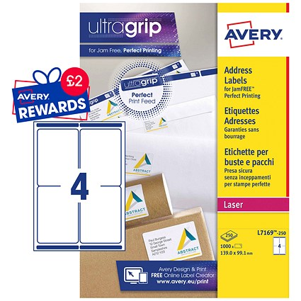 Avery Jam-free Laser Addressing Labels, 4 per Sheet, 139x99.1mm, White, L7169-250, 1000 Labels