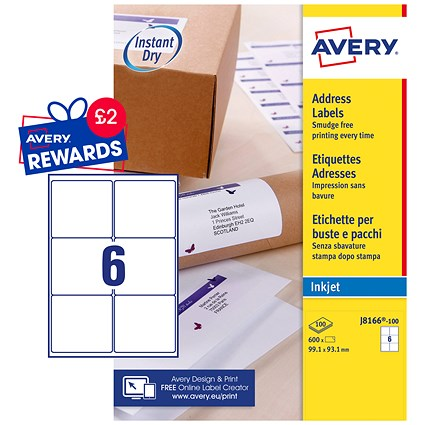 Avery Quick DRY Inkjet Addressing Labels, 6 per Sheet, 99.1x93.1mm, White, J8166-100, 600 Labels