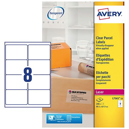 Avery Clear Laser Addressing Labels, 8 per Sheet, 99.1x67.7mm, L7565-25, 200 Labels