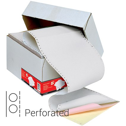 5 Star Computer Listing Paper / 3 Part / 11 inch x 241mm / Perforated / Box (700 Sheets)
