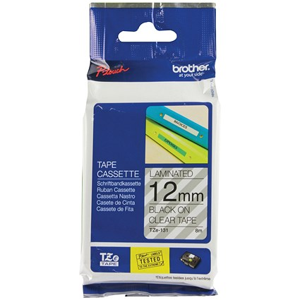 Brother P-touch TZE Label Tape, 12mmx8m, Black on Clear, Ref TZE131