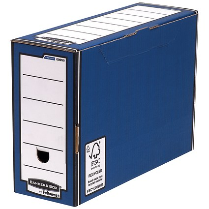 Fellowes Bankers Box Premium Transfer Files, Foolscap, Blue & White, Pack of 10