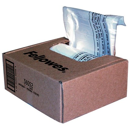 Fellowes Shredder Bags, Capacity 28 Litre, For SB-87Cs 450MS and 460MS Shredders, Pack of 100