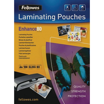 Fellowes A4 Laminating Pouches, Thin, 160 Micron, Glossy, Pack of 100