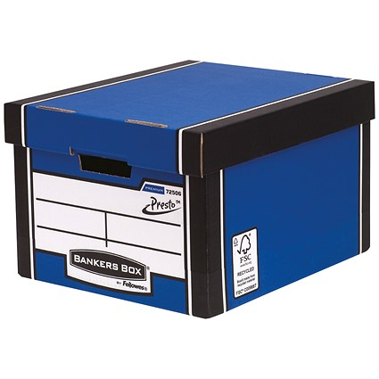 Fellowes Premium 725 Classic Bankers Box, Blue & White, Pack of 10