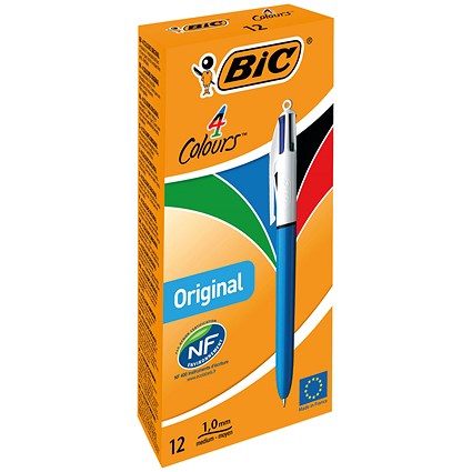 Bic 4-Colour Ball Pen, Blue Black Red Green, Pack of 12