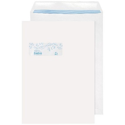 Evolve C4 Envelopes Window Recycled Pocket Self Seal 100gsm White (Pack of 250)