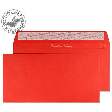 Blake Plain Red DL Envelopes, Peel & Seal, 120gsm, Pack of 250
