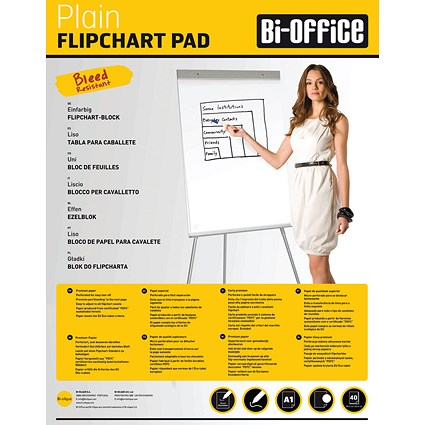 Bi-Office Plain Flipchart Pad A1 40 Sheet (Pack of 5)