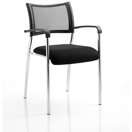 Brunswick Visitor Chair / With Arms / Chrome Frame / Black