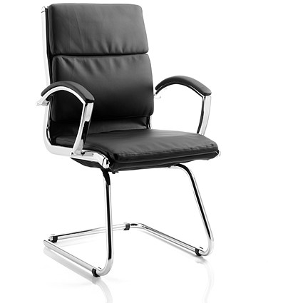 Classic Visitor Cantilever Leather Chair - Black