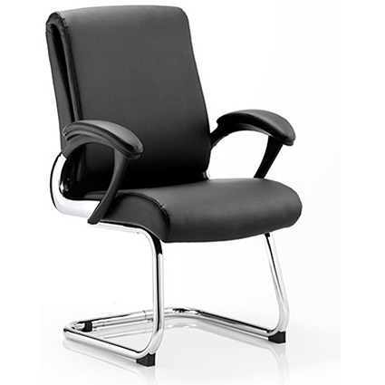 Romeo Leather Visitor Chair - Black