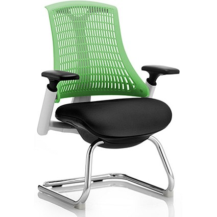 Flex Visitor Chair / White Frame / Black Seat / Green Back