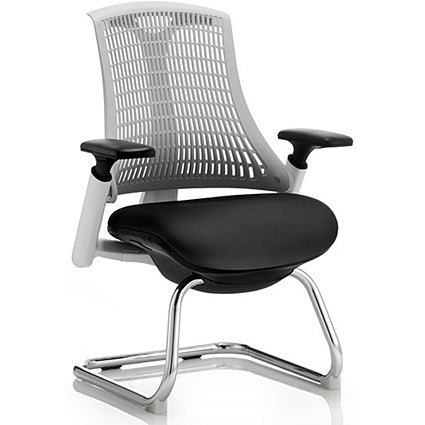 Flex Visitor Chair, White Frame, Black Seat, Off-white Back