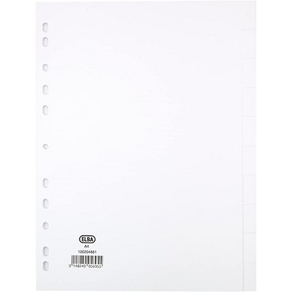 Elba Subject Dividers, 10-Part, A4, White