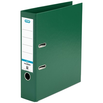 Elba 70mm Lever Arch File Plastic Green A4