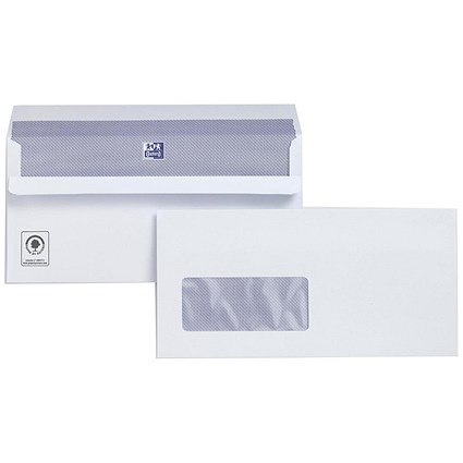 Plus Fabric DL Wallet Envelopes with Window, White, Press Seal, 120gsm, Pack of 500