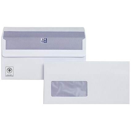 Plus Fabric DL Wallet Envelopes with Window, White, Press Seal, 120gsm, Pack of 250
