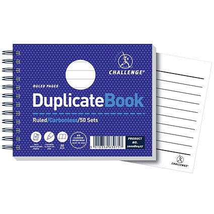 Challenge Wirebound Carbonless Ruled Duplicate Book, 50 Sets, 105x130mm, Pack of 5