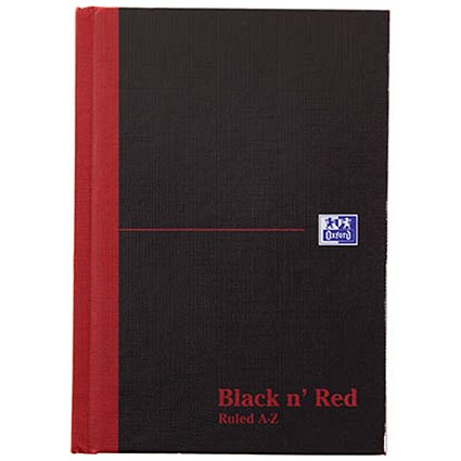 Black n' Red Casebound Notebook / A6 / Ruled & Indexed A-Z / 192 Pages / Pack of 5