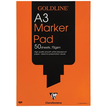Goldline Marker Pad, A3, Bleedproof, 70gsm, 50 Sheets