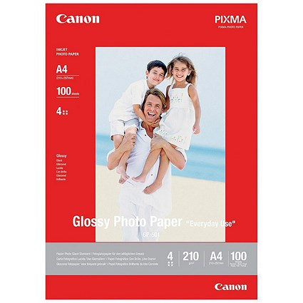 Canon A4 GP/501 Glossy Photo Paper, White, 210gsm, Pack of 100 Sheets