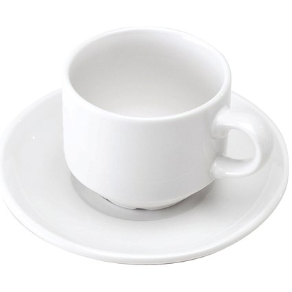 Cup and Saucer (Pack of 6) White