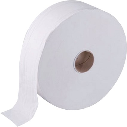 Maxima Jumbo Toilet Rolls, White, 2-Ply, 100 Sheets per Roll, 1 Pack of 6 Rolls, 410m