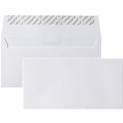 Conqueror DL Envelopes, Wove, Brilliant White, 120gsm, Pack of 500