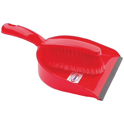 Dustpan and Brush Set Red (Soft bristled handle) 102940RD