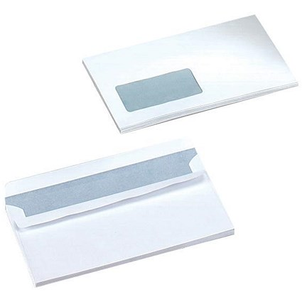 5 Star DL Envelopes, Window, White, Press Seal, 90gsm, Pack of 1000