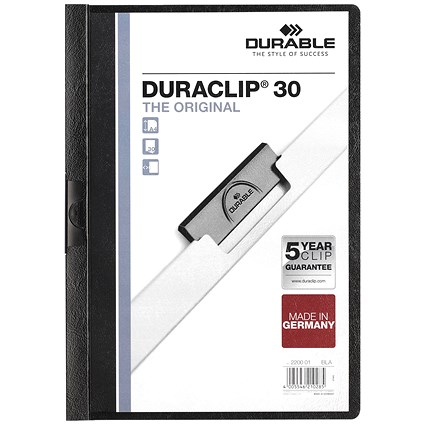Durable A4 Duraclip Folders, 3mm Spine, Black, Pack of 25