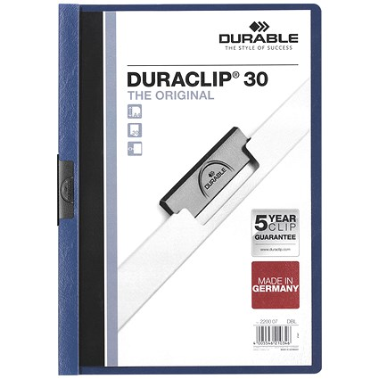 Durable 3mm Duraclip File A4 Dark Blue (Pack of 25)
