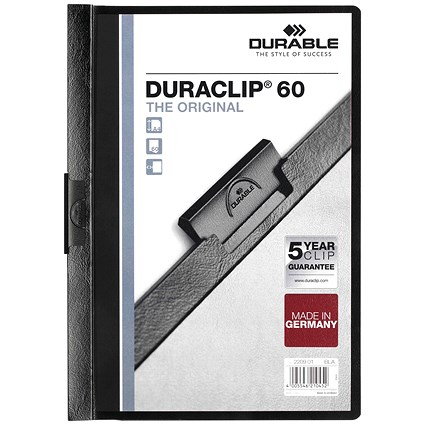 Durable A4 Duraclip Folders, 6mm Spine, Black, Pack of 25