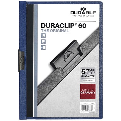 Durable A4 Duraclip Folders, 6mm Spine, Blue, Pack of 25