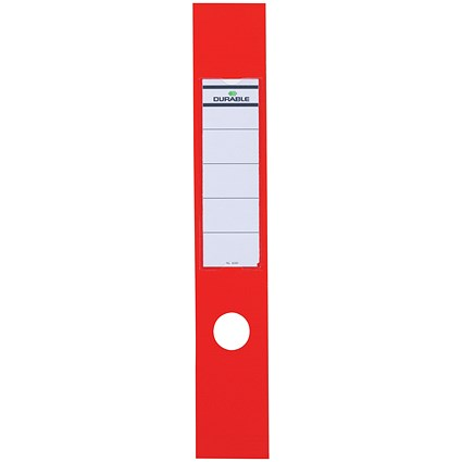 Durable Ordofix Self-adhesive PVC Spine Labels for Lever Arch File, Red, 8090/03, Pack of 10