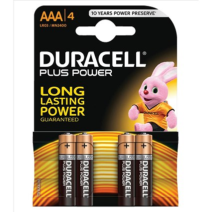 Duracell Plus Power Alkaline Battery, AAA, 1.5V, Pack of 4